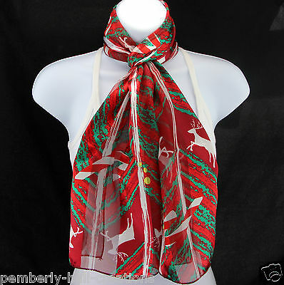 Candy Cane Reindeer Womens Scarf Christmas Holiday Xmas Gift Scarves New