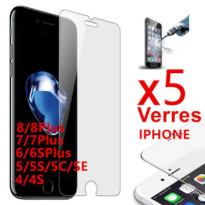 Lot/5 VITRE VERRE TREMPE Film protection iphone X/XR/XS 8/7/6/6S/5S/5C/SE/4S