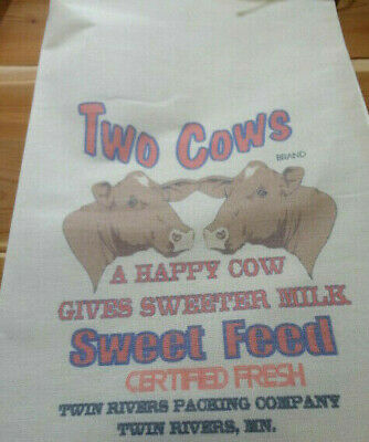 RL-47 TWO COWS Flour Bag Sack Feed Seed  Novelty Collectible