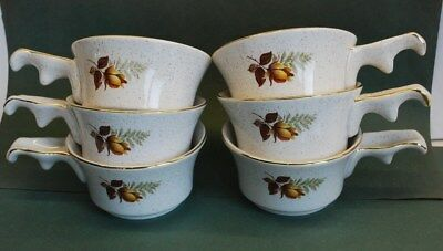 """Six KERNEWEK POTTERY (Cornwall) """"AUTUMN ROSE"""" SOUP BOWLS WITH HANDLES"""