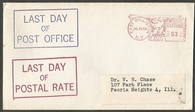 1958 Us Cover Last Day Of Post Office-Last Day Of Postal Rate East Williston Ny