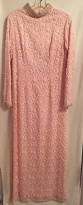 Pink Beaded Long Sleeved Floor Length Gown-size 16-Made In British Hong Kong