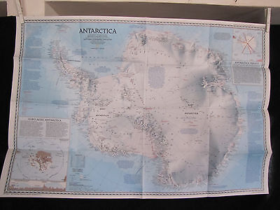 1987 National Geographic Map - Antarctica - Pinnipeds  - 21 x 31 inches