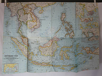 1961 National Geographic  Southeast Asia Map - 19 x 25 inches