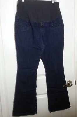 Thyme Maternity Womens Jeans Size XL Dark Denim Rinse Stretch Full Panel Belly