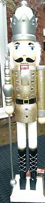 Nutcracker Soldier King Gold Glitter Extra Large Christmas 62Cms  Bnwt