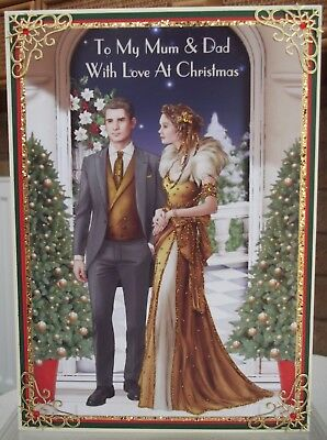Handmade personalised Art deco christmas card to my mum & dad in gold