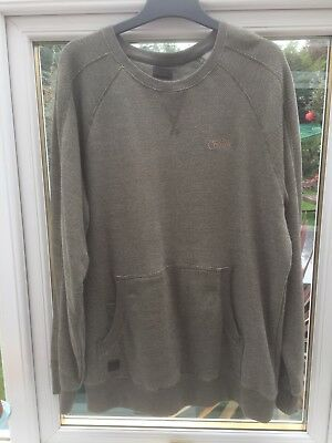Fox Chunk Sweatshirt. With front pouch pocket. Green / grey fleck. Size large.
