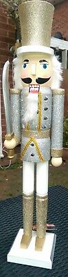Nutcracker Soldier Christmas Extra Large Gold And Silver Glitter  62Cms  Bnwt
