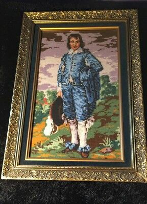 Young Man Needle Point Tappestry Framed Picture