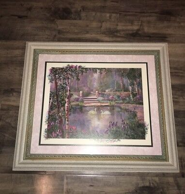 HOME INTERIORS Rare Swans Pond Frame Print Picture 29 Inches Wide 26 Inches Tall