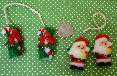 2 Pair of Miniature Christmas Candles Candy Canes & Santa Very Cute Drw2