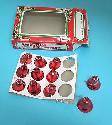 11 Vintage Tiny Red Christmas Bell Tree Ornaments Orig Box 1 Inch CUTE! T57