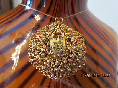 Rare Vintage Topazio Portugal Sterling Gold Vermeil Filigree Brooch Necklace