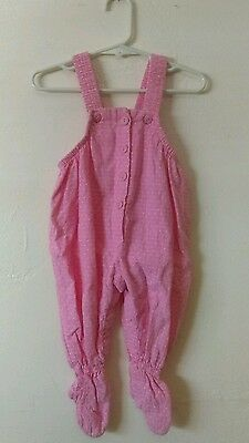 Vtg Baby's Pink Overalls By Osh Kosh B'gosh 6-9 Mos Infant Girl's One Piece