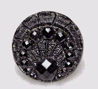 Small ANTIQUE BUTTON Black Glass PEACOCK Design CHARMSTRING
