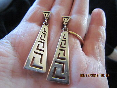 Vintage Sterling Silver Greek Key Dangle Earrings