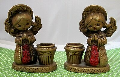 1970 Kitch Retro Pair of Gold & Red Christmas Angel Candle Holders Japan  T35