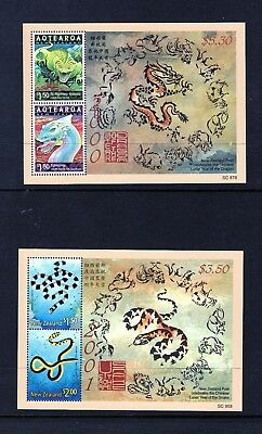 New Zealand 2000 Year Of The Drgon & 2001 Year Of The Snake Ms Um
