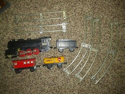 Toy train - tin - christmas tree/display - track included - vintage