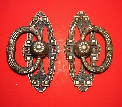Vintage Old Solid Brass Door Pull Handles Large Heavy Very Nicely Detailed Pair