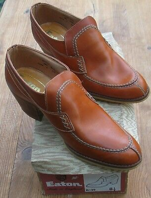 Vintage Retro Eaton Cuban Heel Mens Shoes Size 8.5 Autumn Tan Casual Slip On