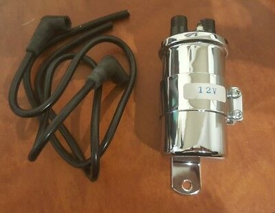 'Hi Level' Chrome 12 volt Motorcycle Ignition Coil - OEM 713312
