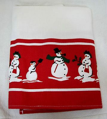 Older Williams  Sonoma Red White Snowman Family 100% Cotton Kitchen Towel T45