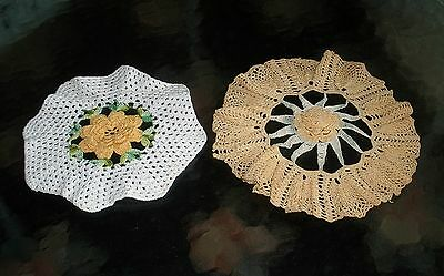 "Vtg Lot 2 Round 3D Center White Yellow Green Flowers Crocheted 9.5"" & 8"" Doilies"