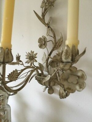 Lovely Pair Of Vintage Mid Century Italian Tole Candle Sconces Muted Floral