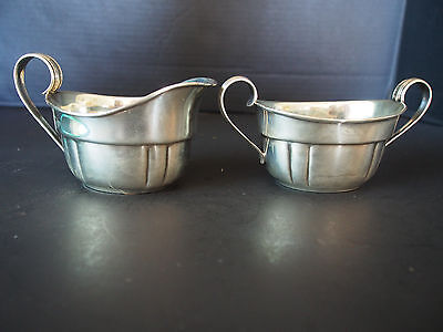 2 Antique Wallace Sterling # 212 Sauce Boat Gravy Sugar Bowl Creamer Pitcher Set