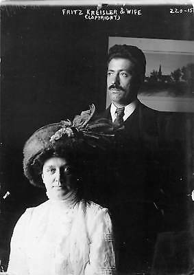 Violinist FRITZ KREISLER and his wife 1914 vintage photo