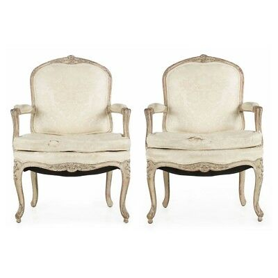Pair of French Louis XV Style Distressed White Painted Antique Arm Chairs