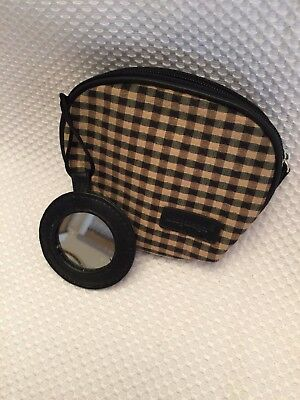 Longaberger Tan Black Check Homestead Cosmetic Bag w Mirror Makeup