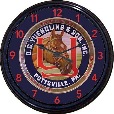 Yuengling & Son Pony Pottsville PA Beer Tray Wall Clock Maly Ale Man Cave