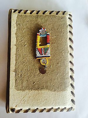 HAND MADE BUSINESS CARD/PHOTO HOLDER KENYA SAFARI BEADS NEW AFRICA Masai