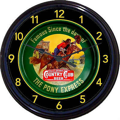 Pony Express Country Club Beer Tray Wall Clock St Joseph MO Sacramento Cowboy