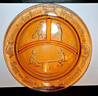 2123~Repro. Art Glass CHILD Nursery AMBER Divided PLATE My Pretty Maid SEE-SAW**