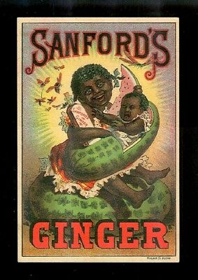 Black Girl Holds Baby In Watermelon Cradle-Black Americana Victorian Trade Card