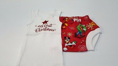 Baby's First Christmas Singlet and Nappy Cover Set