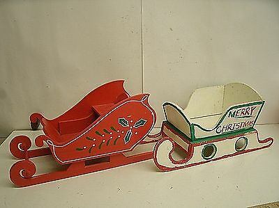 """lot of 2 rustic wooden Sleighs Christmas Primitive Decor 14"""""""