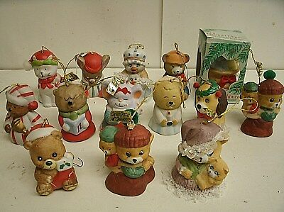 Vintage Lot of 14 Jasco Giftco PORCELAIN  BELL Christmas Ornaments