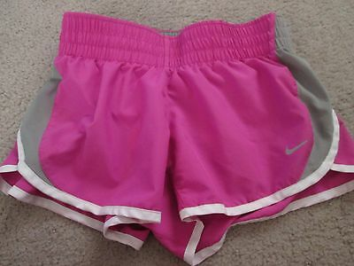 Women's NIKE Dri-Fit Lined Athletic/Running Shorts - Size XS - Pink/Gray/White