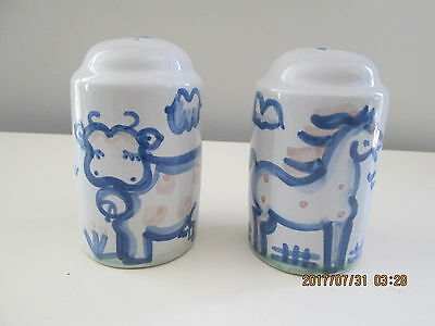 """M.A. Hadley Pottery Oversize Salt & Pepper 4 1/2"""" HORSE and COW"""
