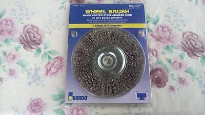"Wheel Wire Brush 125mm 5"" Steel Crimped wire for Bench Grinder BRAND NEW"