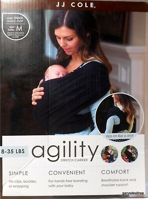 JJ Cole Agility Stretch Carrier Size M Dress Size 10-12 (8 to 35 lbs Baby) Black