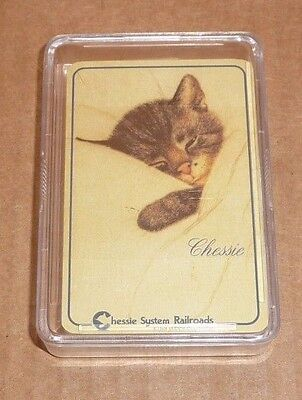 New Sealed Chessie The Railroad Kitten Playing Cards in Hard Plastic Case MINT!
