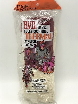 BVD Thermal Stretch Socks Vintage 1970s Mens Terry Lined Cushioned Red White NOS