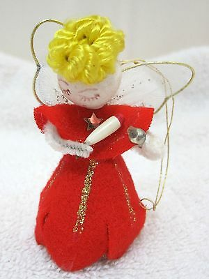 "Vintage Christmas Spun Cotton & Nylon Netting  Angel Wing Red Dress 2 1/2"" T29"