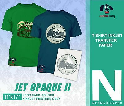"Neenah Jet Opaque II 11 x 17"" Inkjet Dark Transfer Paper Dark Colors -20 Sheets"